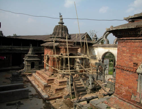 L'area monumentale del ghat di Shankhamul a Patan, nella valle di Kathmandu